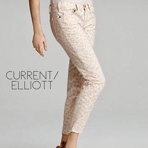 Current/Elliott Stiletto Peach Animal Print Jeans